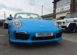 Porsche 911 blue matt wrap for Gumball 3000